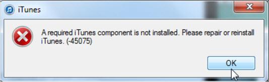 iTunes error 45075