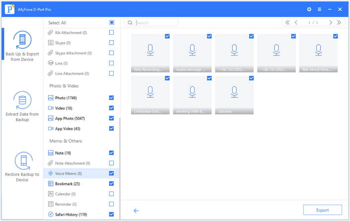 preview voice memo before export