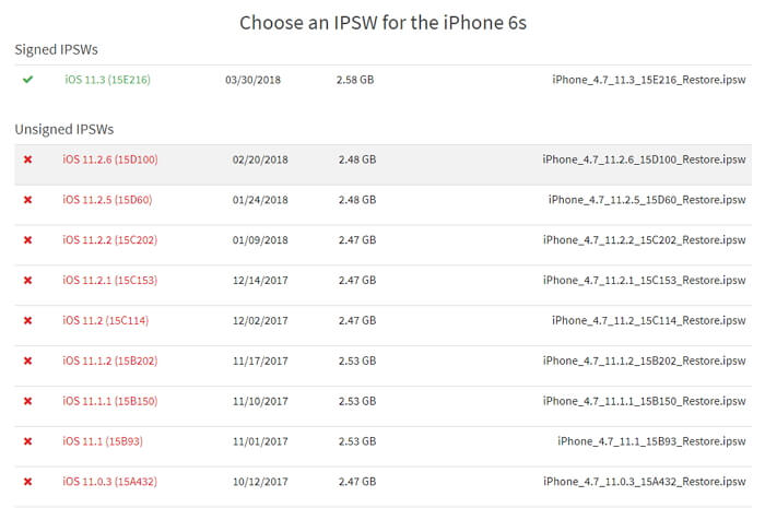 signed iPSW for iPhone 6s