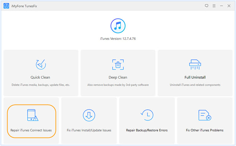 choose repair itunes connect issues
