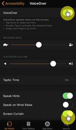 turn off voiceover and screen curtain on apple watch