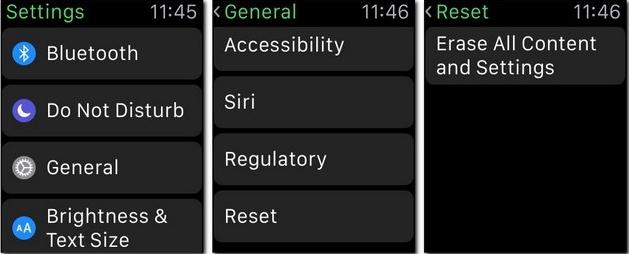 Unpair Apple Watch from settings