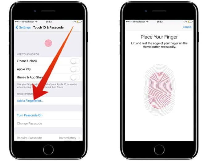 activate iphone touch id