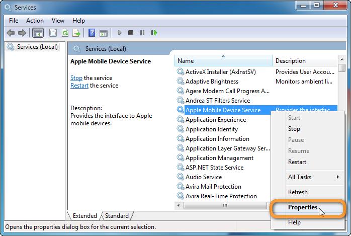 Restart Apple Mobile Device Support Service