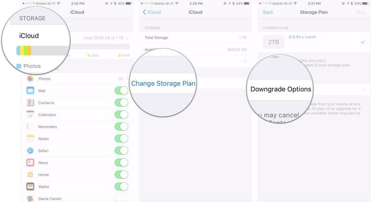 cancel icloud storage plan on iphone