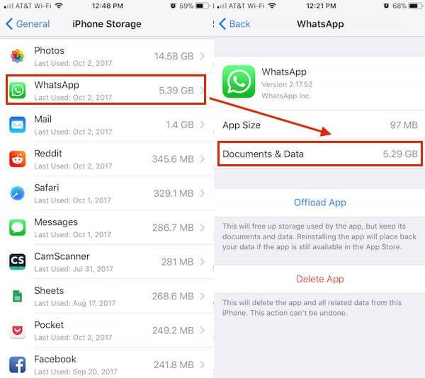 check whatsapp storage