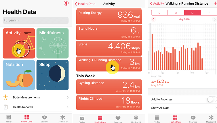 check steps on health app