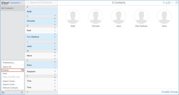 delete multiple contacts in icloud