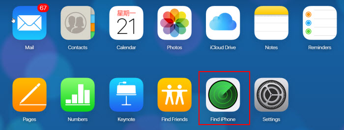 find iPhone on iCloud