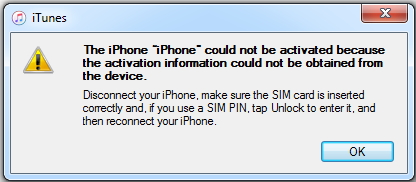 iPhone could not be activated error