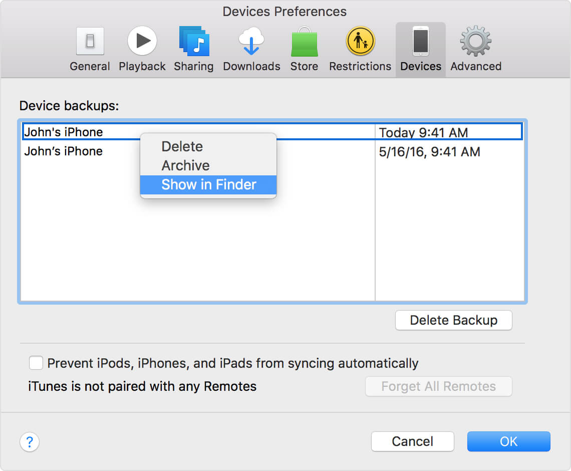 itunes backups mac show in finder