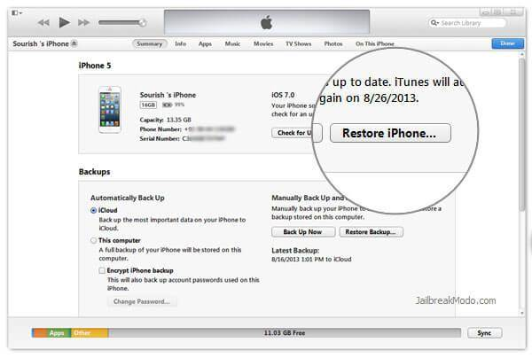 restore ios version