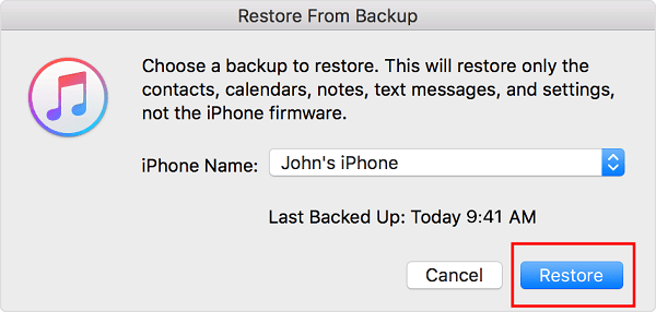restore photos from itunes