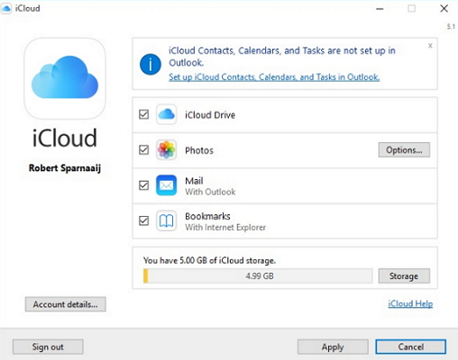 sync icloud contacts with outlook