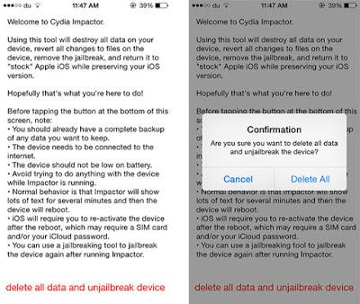 Delete all data and unjailbreak device