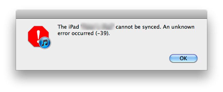 iTunes Error 39