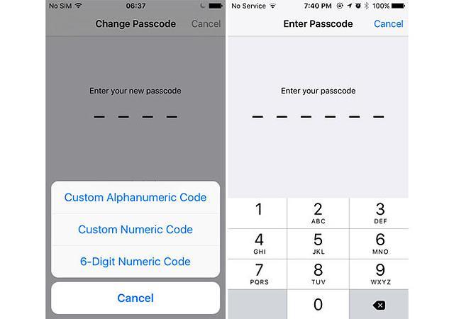 6 digits passcode