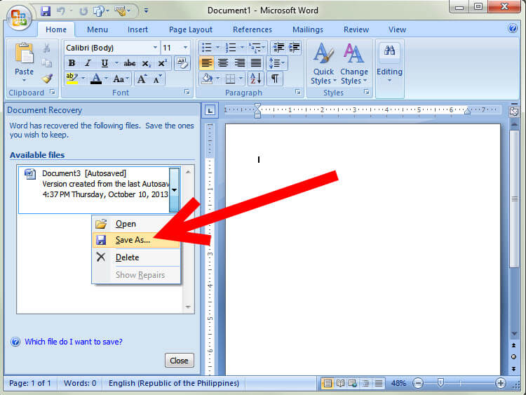 word document recovery