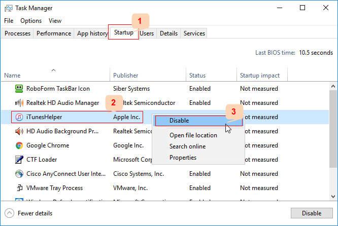 Disable iTunesHelper Windows