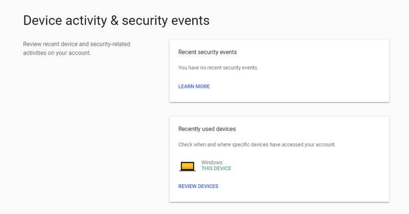 google device activity