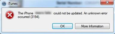 iPhone update error 3194