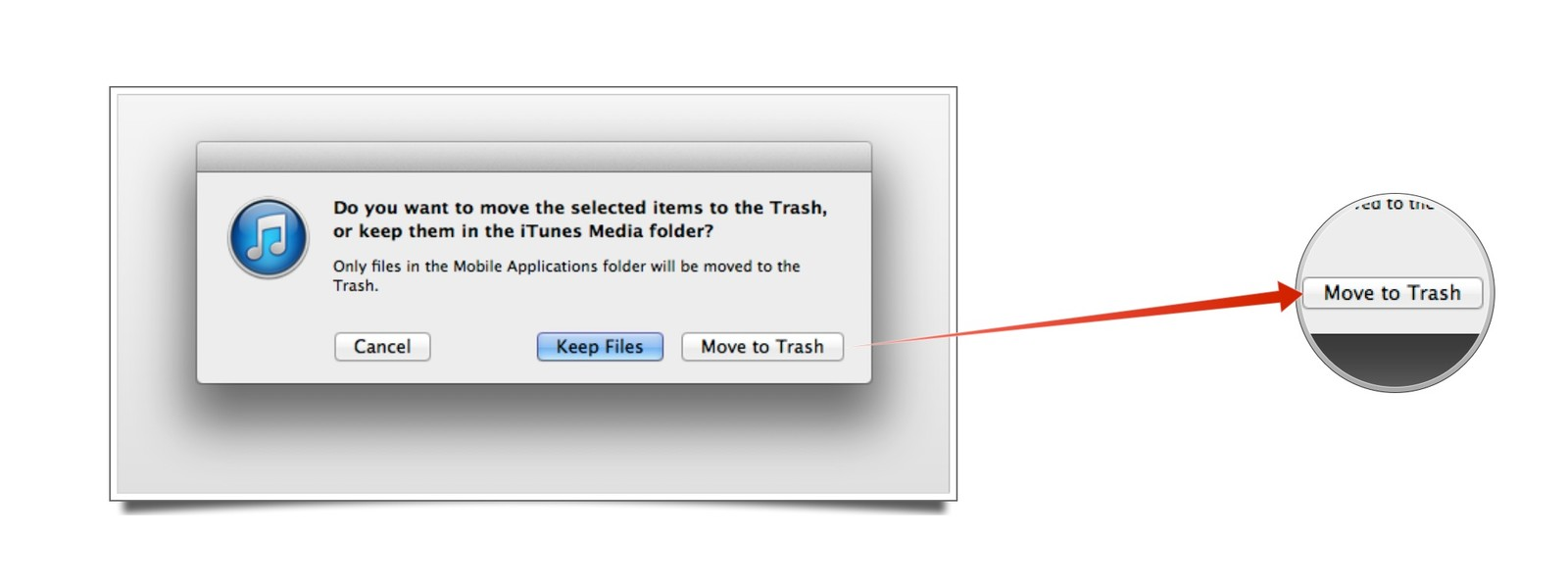 itunes clean move to trash