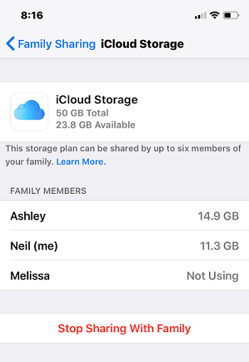 manage icloud family share