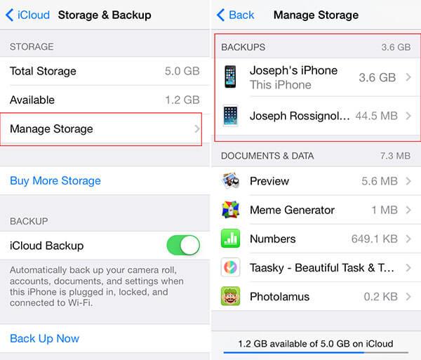 reset icloud storage