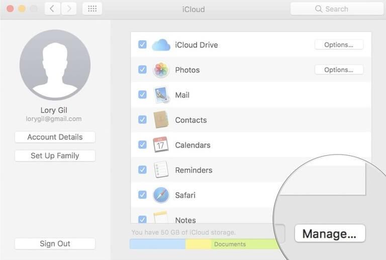 icloud manage mac