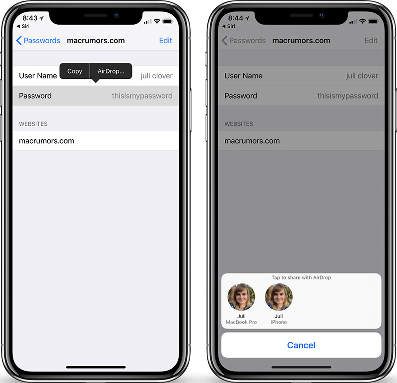 share passwords ios 12