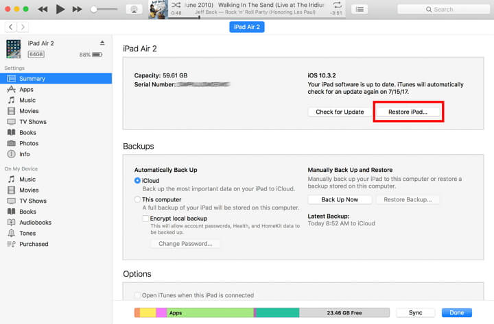 restore iPad using iTunes