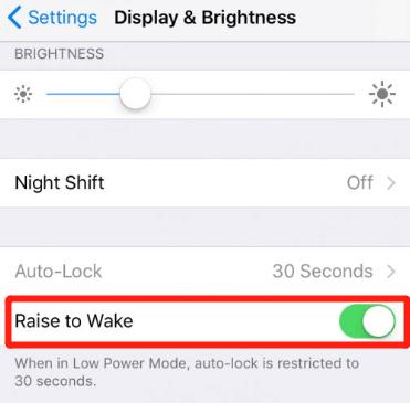 turn on raise to wake