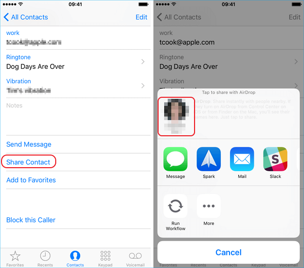airdrop iPhone contact to iPad