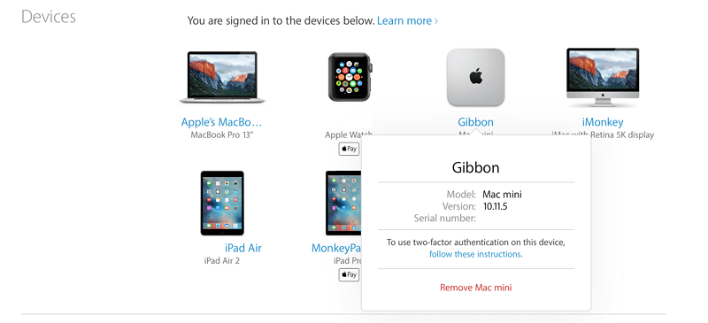 check device list on icloud