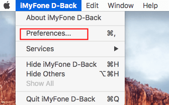 settings of iMyFone D-Back on Mac