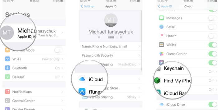 remove find my iphone
