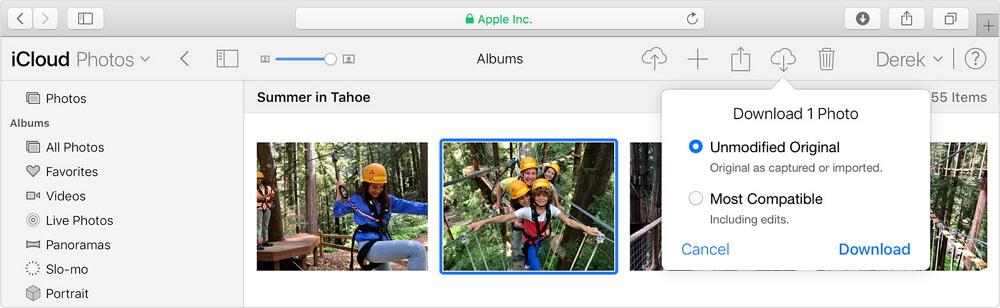 macos safari icloud photos download unmodified photo