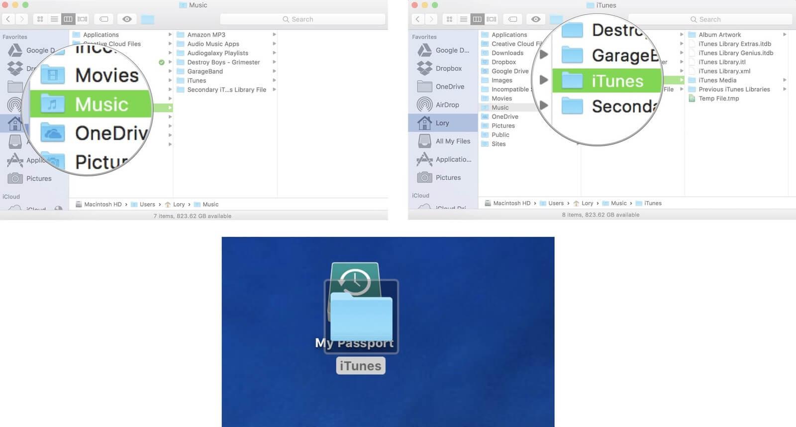 move itunes external hard drive music itunes drag to new mac screenshot