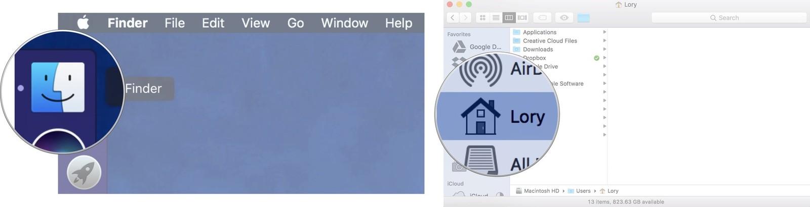 move itunes external hard drive open finder select local hard drive mac screenshot