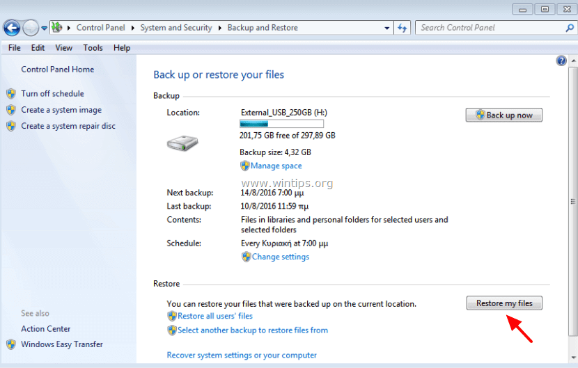 restore from windows backup