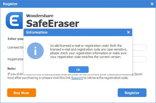 safeerase-registration-failed