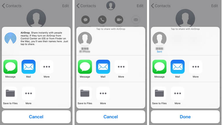 AirDrop contacts