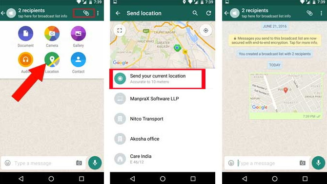 whatsapp location sharing