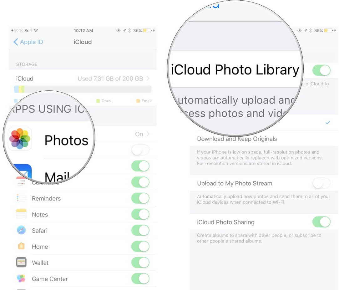 use setup icloud photo library