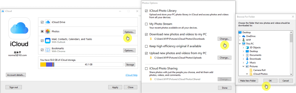 change the path of icloud photos