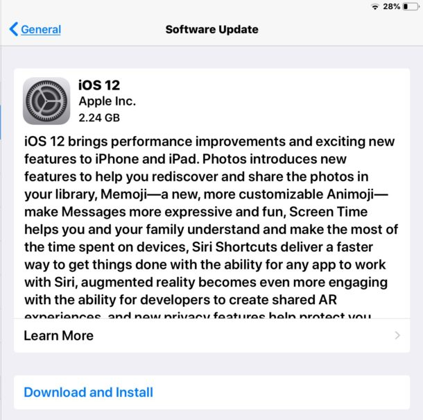 download and install ios update on ipad