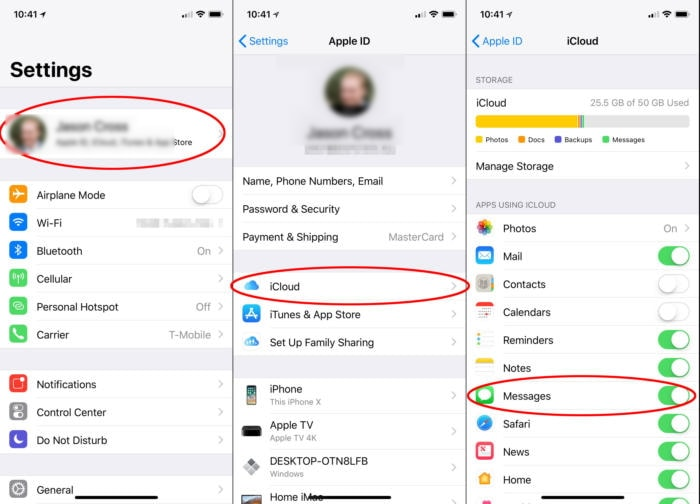 Messages in iCloud settings