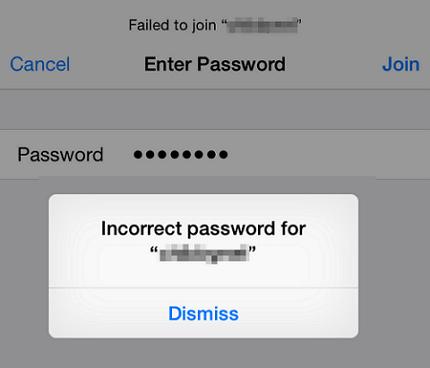 WiFi says incorrect password