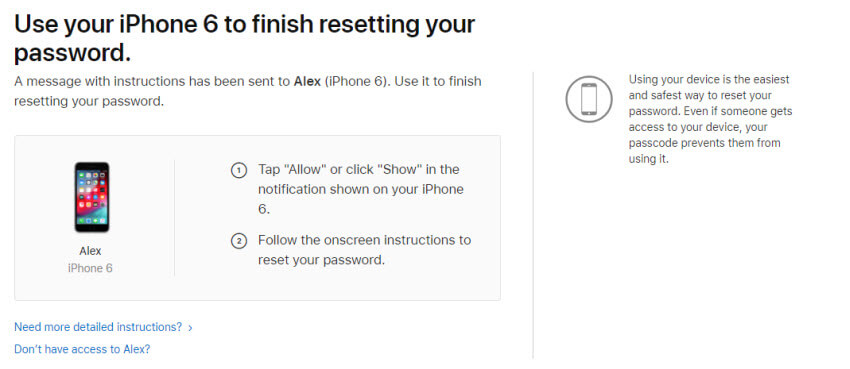 Reset Apple ID password by confirming phone number