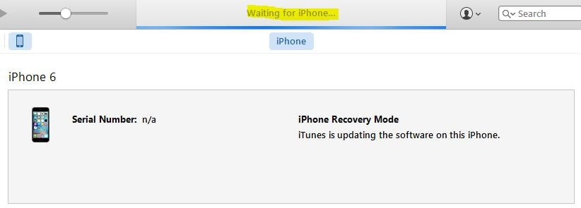 iTunes stuck on waiting for iPhone
